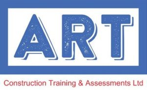 Blue and Red Logo for Art Construction Training